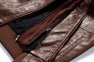 Image 5 - Mens Pu Jacket Winter Leather Hooded Biker Coat Men 2019 Streetwear Fleece Zipper Jacket with Detachable Hat Casual Overcoats