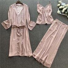 2020 Spring Women Pajamas Sets Satin Sleepwear Silk 3 Pieces Spaghetti Strap Lace Sleep