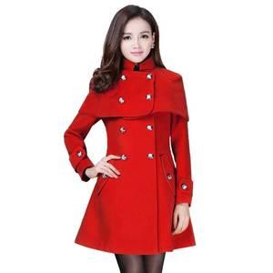 Зимнее женское пальто OL, длинное шерстяное пальто, женская одежда, верхняя одежда, большие размеры 4XL, женские пальто красного цвета