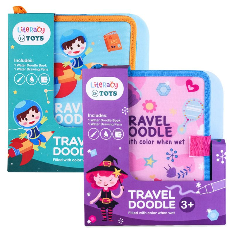 Portable Water Drawing Book With Magic Pen Travel Doodle Book Reusable Kids Baby Educational Toys Letter Number Early Learning