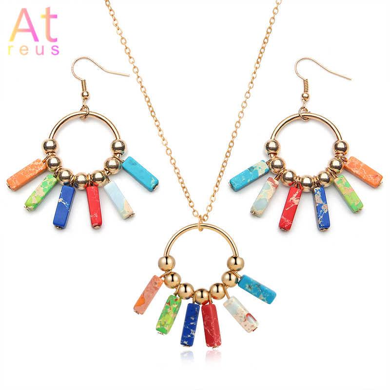 Yoga Chakra pierre ensemble de bijoux coloré/bleu boucle d'oreille pierre naturelle or couleur perles goutte boucles d'oreilles collier bohême cadeaux livraison directe