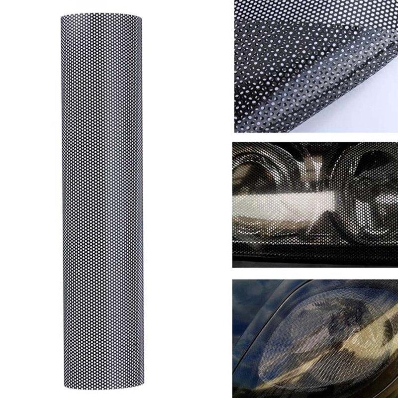 50*106cm voiture Auto phare teinte maille perforée pas bloquer vue avant lampe frontale Protection Film autocollant