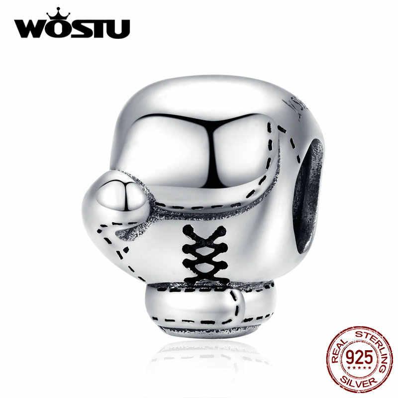 WOSTU אמיתי 925 סטרלינג כסף אגרוף כפפות חרוזים קסמי Fit מקורי צמיד תליון לנשים גברים תכשיטים FIC1325
