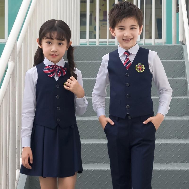 Kid Korean Japanese School Uniform For Boy Girl White Shirt Navy Skirt Pants Waistcoat Vest Tie Clothes Set Student Outfit Suit