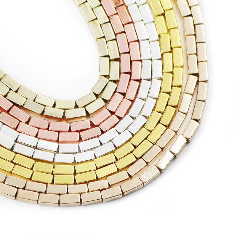 JHNBY Gold Silverr 4x2mm Rechteck Hämatit Natürliche Stein Spacer Lose Perlen Für Schmuck Machen Diy armband halskette erkenntnisse