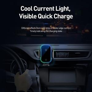 Image 5 - Baseus Qi Auto Draadloze Oplader Voor Iphone Samsung Xiaomi 15W Inductie Snelle Draadloze Opladen Auto Telefoon Houder Wirless Lader