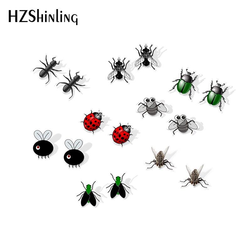 Женские акриловые серьги-гвоздики, черные серьги в форме насекомых с эпоксидной смолой, 2019