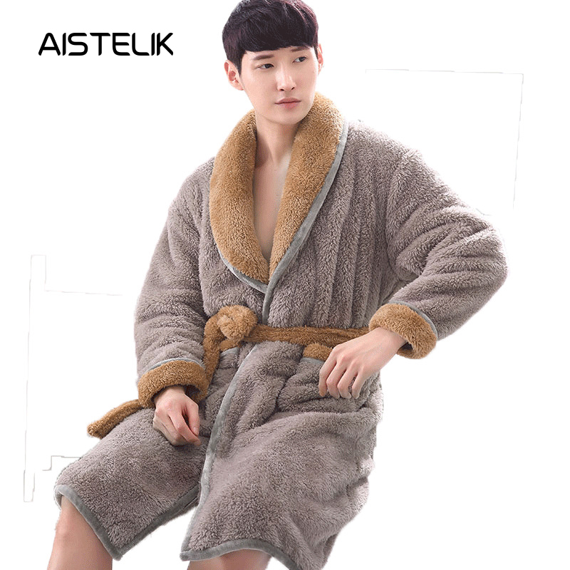 New Winter Men's Pajamas Plush Solid Color Robes Korean Version Of The Thick Flannel Pajamas Autumn And Winter Yukata Home Comfort High-end