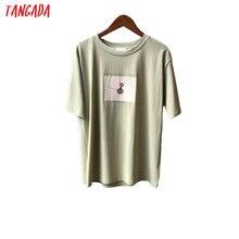 Tangada 2020 summer women print cotton T shirt short sleeve tees ladies