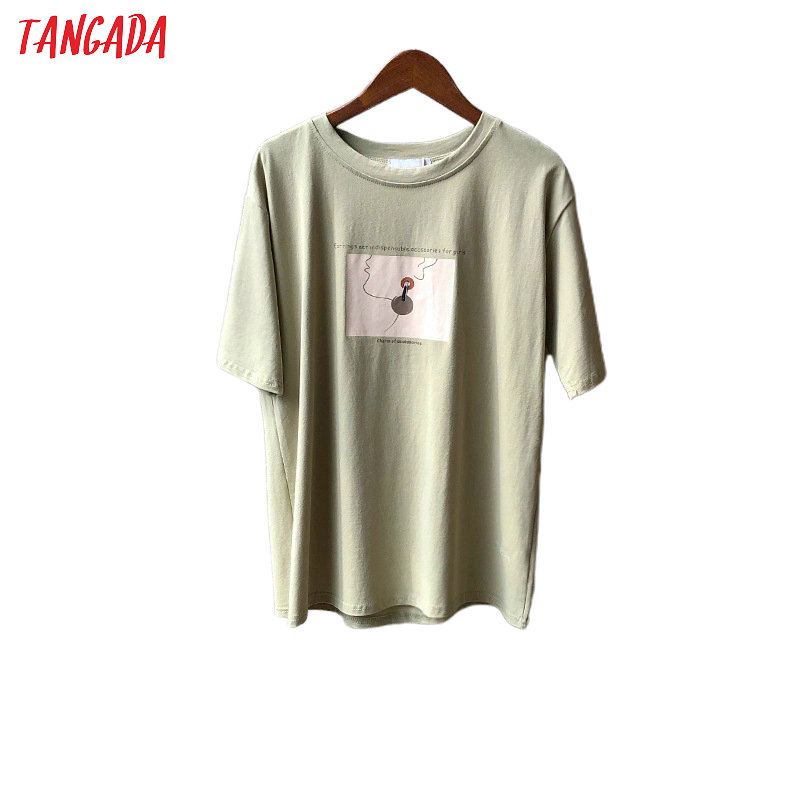Tangada 2020 Summer Women Print Cotton T Shirt Short Sleeve Tees Ladies Casual Tee Shirt Top High Quality ASF17