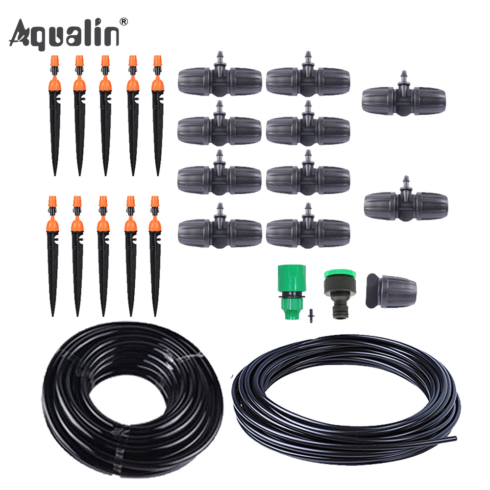 10m(33ft) 9/12 Micro Drip Plant Watering Kit DIY Garden Irrigation Mist Cooling System With Adjustable Drip/Spray Nozzle#26301-7
