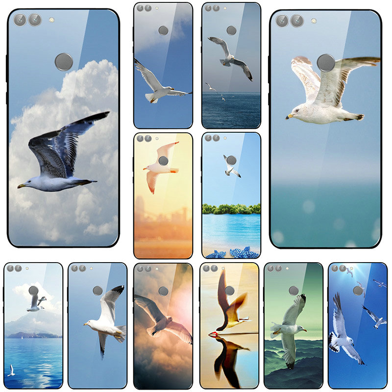 Tempered Glass Phone <font><b>Cases</b></font> for Huawei Honor Mate 20 6X 8 8A 9 10 P20 P30 Y6 Y9 Pro Lite Shell Flying <font><b>Seabirds</b></font> Animal image