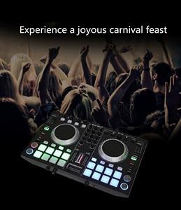 Controlador para jogadores jogando disco de áudio mixagem console som mixer mesa de mezclas dj dmx luz palco