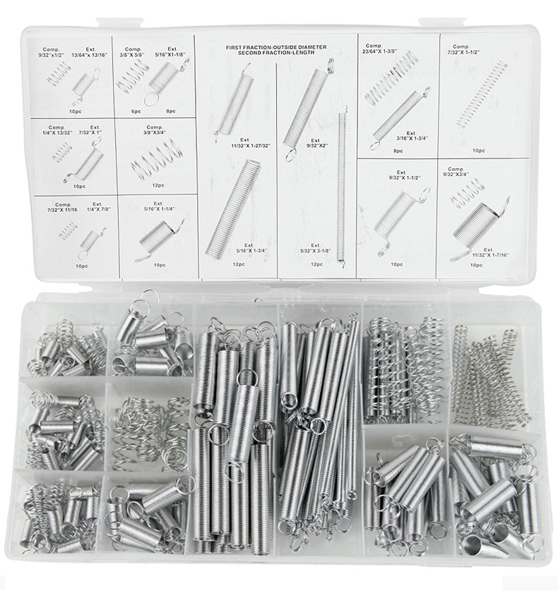 200pcs/box Spring Tension Steel Spring Electrical Hardware Drum Extension Tension Springs Pressure Dual Hook Suit Metal DIY image