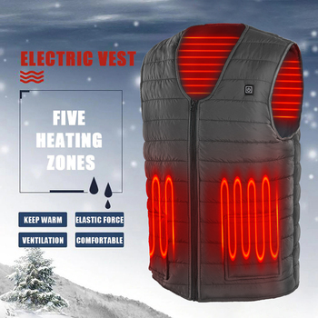 5 Heated Zones USB Heated Vest Washable Electric Heated Jacket Sleeveless Thermal Warm Waistcoat Control Temperature Ski Jacket 1