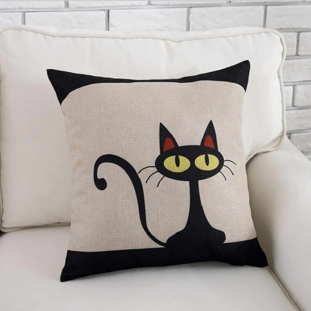 枕ケース幾何漫画のファッションの綿リネン枕ケースかわいい黒猫枕カバーホーム装飾枕ケース s #45