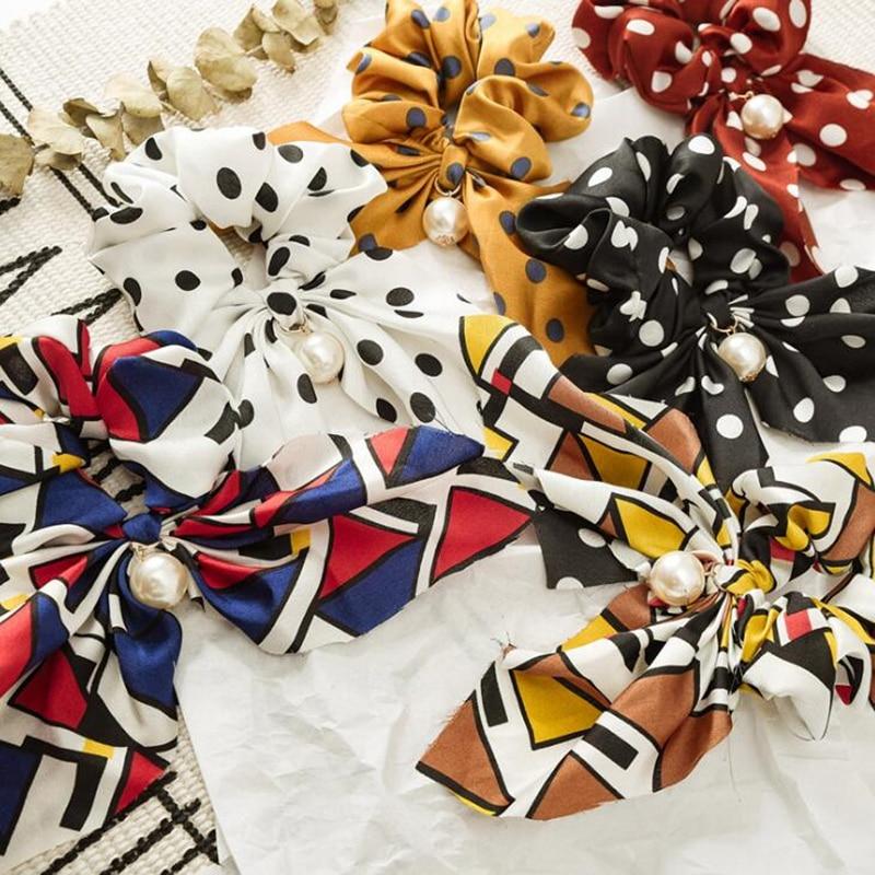 Nueva moda elegante perlas cuerda de pelo Impresión de goma elástico bandas para pelo para mujer niñas corbatas de lazo a la moda accesorios para el cabello