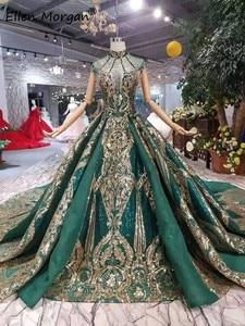 Image 2 - Vestido de noche árabe verde oscuro para mujer, colores brillantes, cuello alto, flecos, evento Formal, fiesta de graduación, 2020