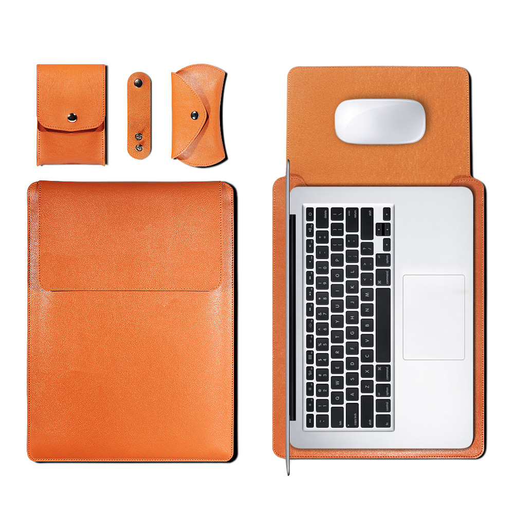 Mouse Pad <font><b>Pouch</b></font> <font><b>Notebook</b></font> Bag for Xiaomi Macbook Air 11.6 12 13 Cover Retina Pro 16 15 <font><b>15.6</b></font> PU Leather Laptop Sleeve Case Funda image