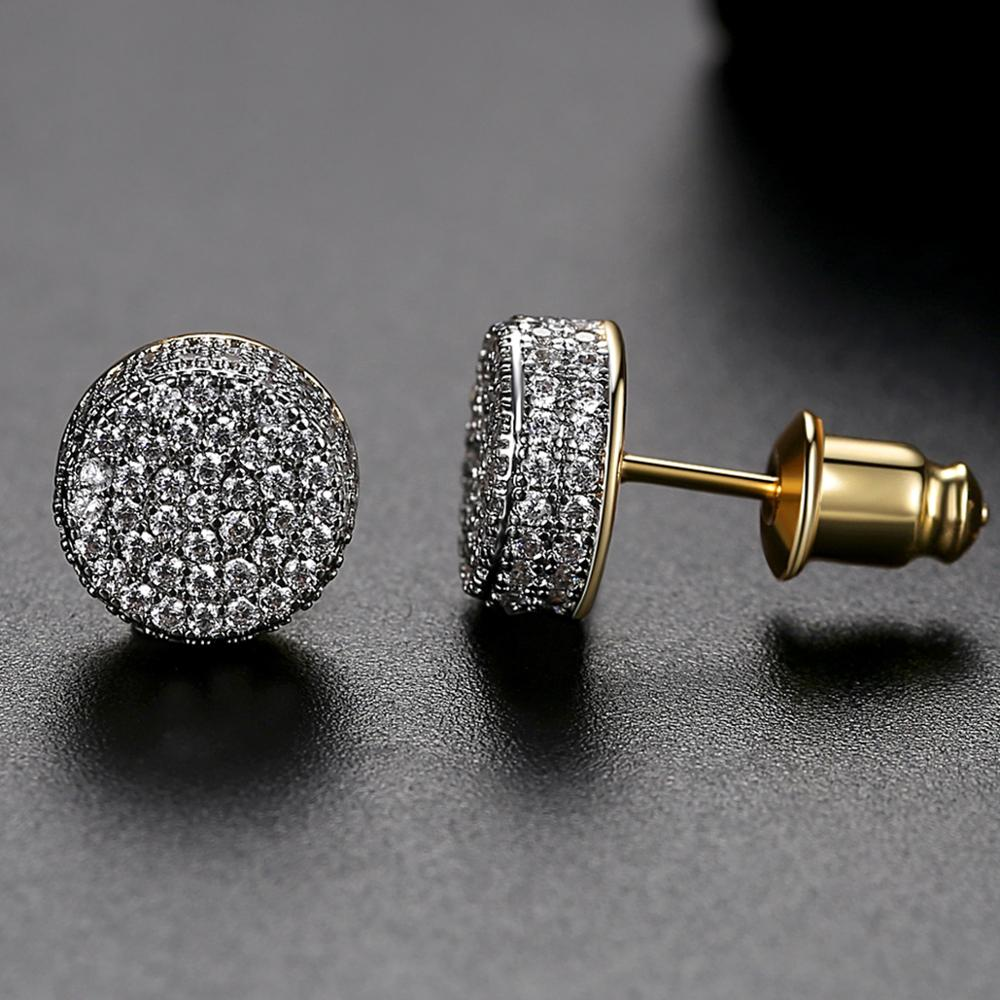 JINSE Hip Hop 9MM Round Cubic Zirconia Earrings For Men Ear Studs Crystal Green White Male Earings Fashion Jewelry Brincos