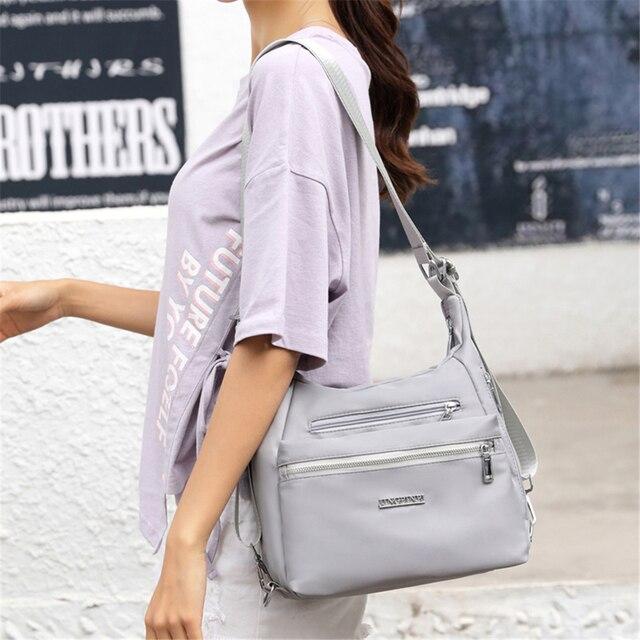 2020 Fashion Woman Shoulder Bag Nylon Waterproof Multi-pocket Messenger Bag Solid Zipper Multifunctional Travel Handbag Purses 2