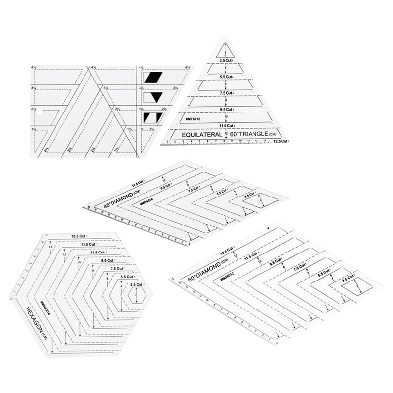 5Pcs Quilting Ruler Lot Sewing Patchwork Templates Tailor Cutting Cloth Tool
