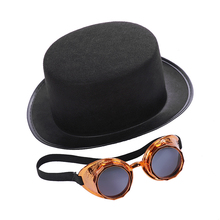 New Men Women Costume Party Props Hat Vintage Carnival Cosplay Dome Bowler Black Steampunk Halloween  Decoration