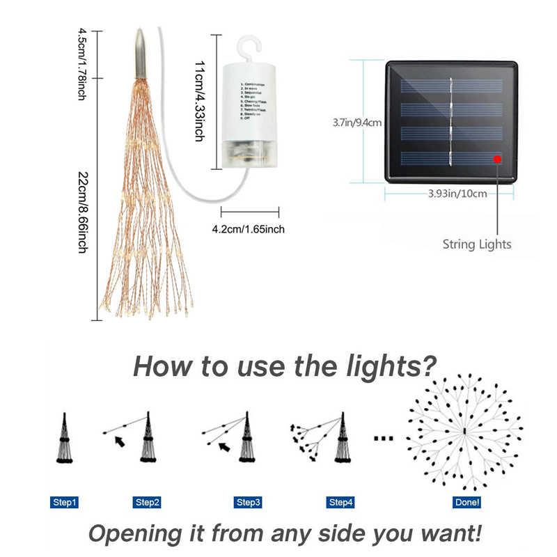 Led String Lampu Luar Ruangan Kembang Api Lampu Tahan Air Diseduh Sendiri Twinkle Lampu Solar Pesta Pernikahan Natal Tembaga Peri untuk Dekorasi Taman