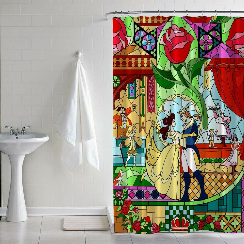 Beauty and the Beast Fabric Waterproof Bathroom Shower Curtain Accessory Set