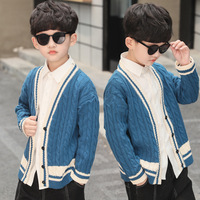 Boy sweater cardigan 2019 new children's coat spring and autumn tide little boy pure cotton sweater outside