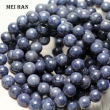 Meihan (1 팔찌) A + 블루 사파이어 9 9.5mm & 9.5 10mm 부드러운 둥근 루즈 비즈 쥬얼리 DIY