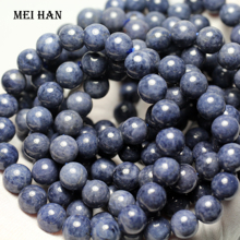 Meihan (1 bilezik) A + mavi sapphiree 9 9.5mm ve 9.5 10mm pürüzsüz yuvarlak dağınık boncuklar takı DIY için