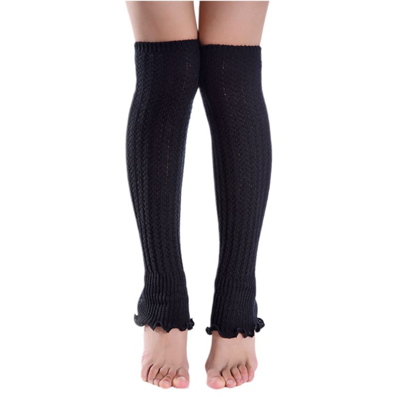 Womens Girls Winter Over Knee High Footless Boot Socks Solid Color Agaric Ruffles Hem Cable Knitted Non-Slip Long Leg Warmers