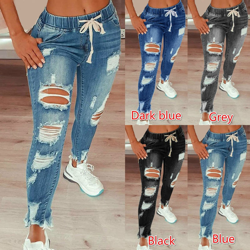 Drawstring Denim Jeans For Women Ripped Hole Stretch Jean Ladies Plus Size Full Length Pencil Pants