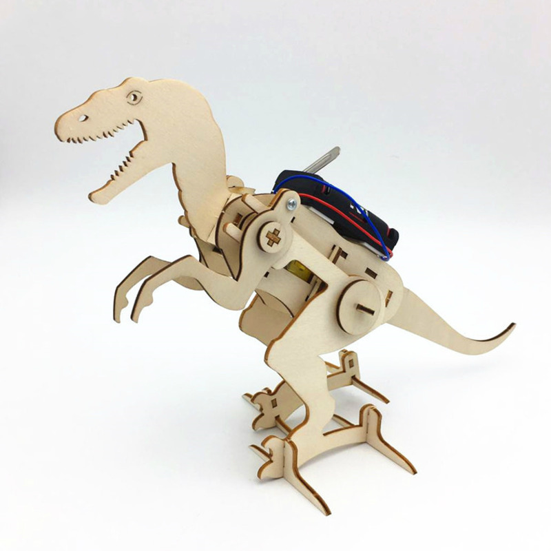 DIY STEM oyuncaklar çocuklar için elektrikli yürüyüş dinozor T Rex inşaat bulmaca erkek zanaat teknoloji eğitici oyuncaklar Brinquedos
