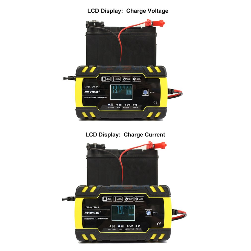 FOXSUR 12V Motorcycle /& Car Automatic UPS Intelligent LCD Display Battery Charger EFB AGM Gel Pulse Repair Battery Charger