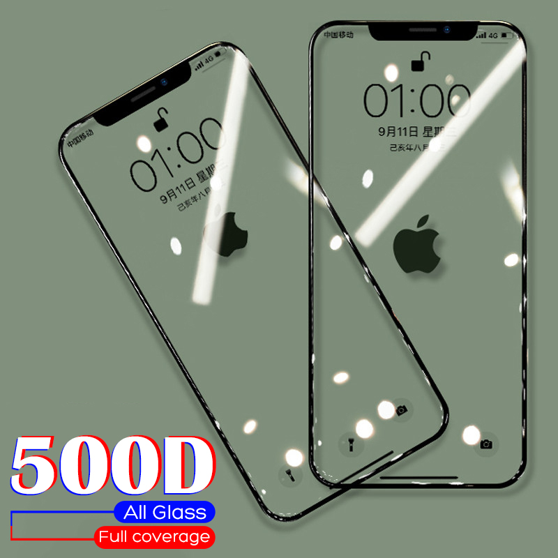 500D Full Cover Tempered Glass For iPhone 11 Pro Max Glass X XS Max XR Screen Protector Glass On For iPhone 6 6s 7 8 Plus X Film