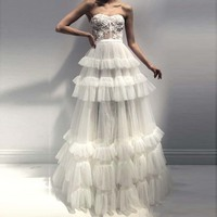 Elegant Strapless Off White Evening Formal Dress Sweetheart Ruffle Tiered Tulle Robe de soiree Corset Prom Gown Boho Bride Dress