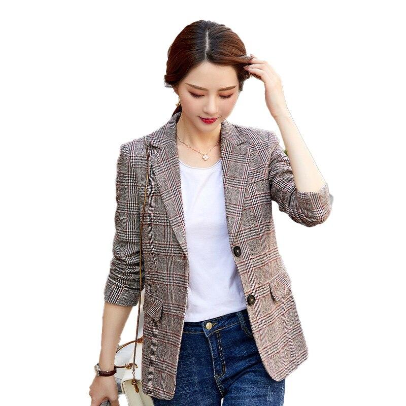 2020 Casual Blazers Women Coat & Jackets Slim Ladies Outerwear Clothes Female Elegant Formal Office Work Wear Styles Brown Plaid