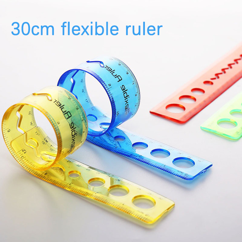 20pcs Flexible Ruler 30cm Kawaii Accessories For School Office Supplies Drafting Supplies Clear Plastic Ruler Kids Scale Ruler