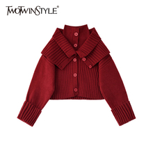 TWOTWINSTYLE Korean Patchwork Bib Sweater For Female Turtleneck Long Sleeve Short Knitted Cardigans Women Autumn New Fashionable