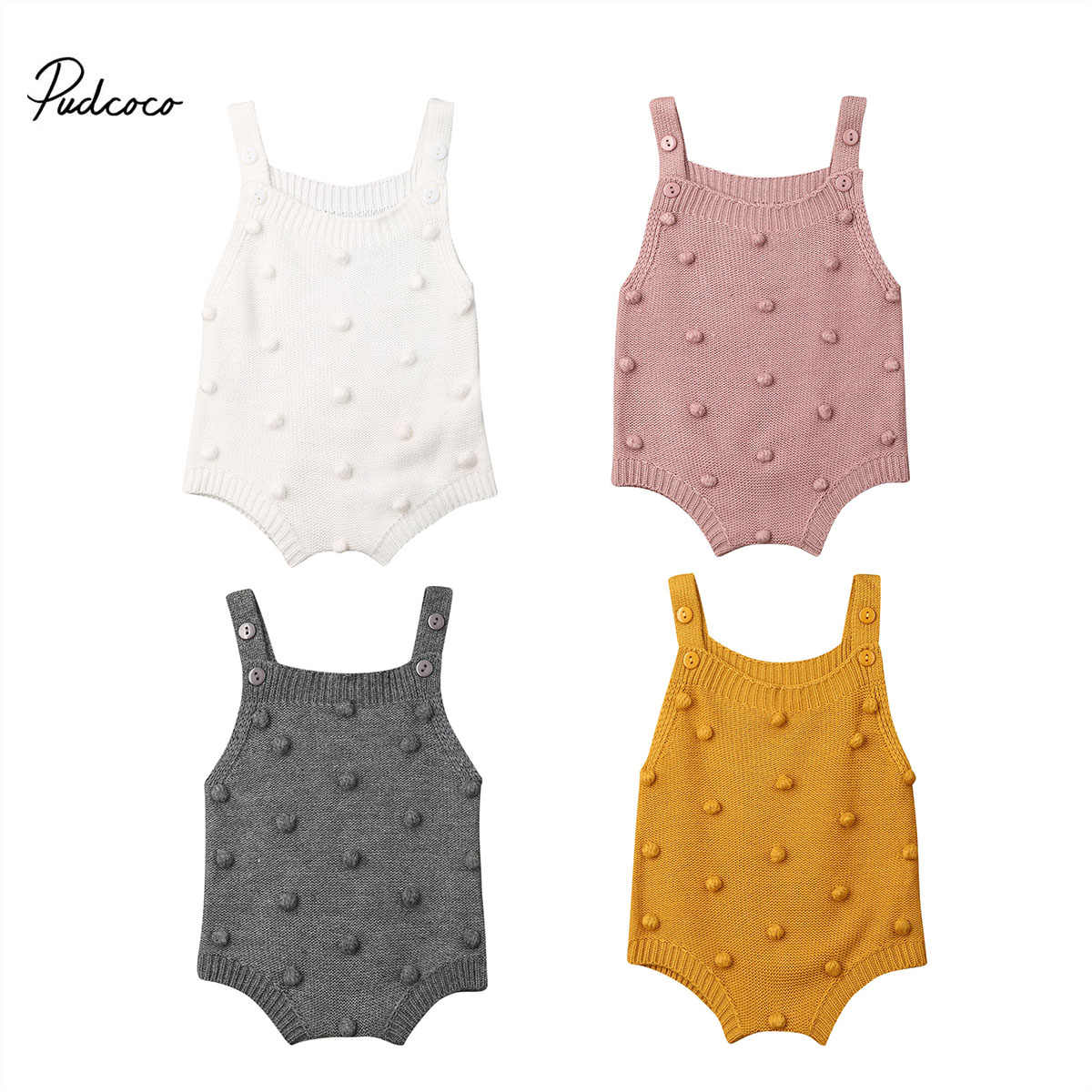 2019 Baby Spring Autumn Clothing Infant Newborn Baby Boy Girl Knit Dots Jumpsuit Solid Bodysuit Cotton Clothes Sleeveless Outfit