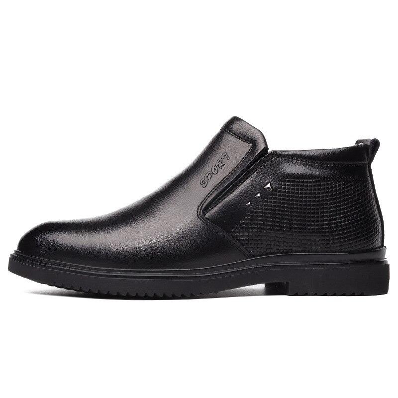 2019 новые модные мужские рабочие кожаные ботинки; теплые мужские зимние ботинки на холодную зиму; обувь из натуральной кожи; мужские шерстяные хлопковые ботинки; обувь - 3