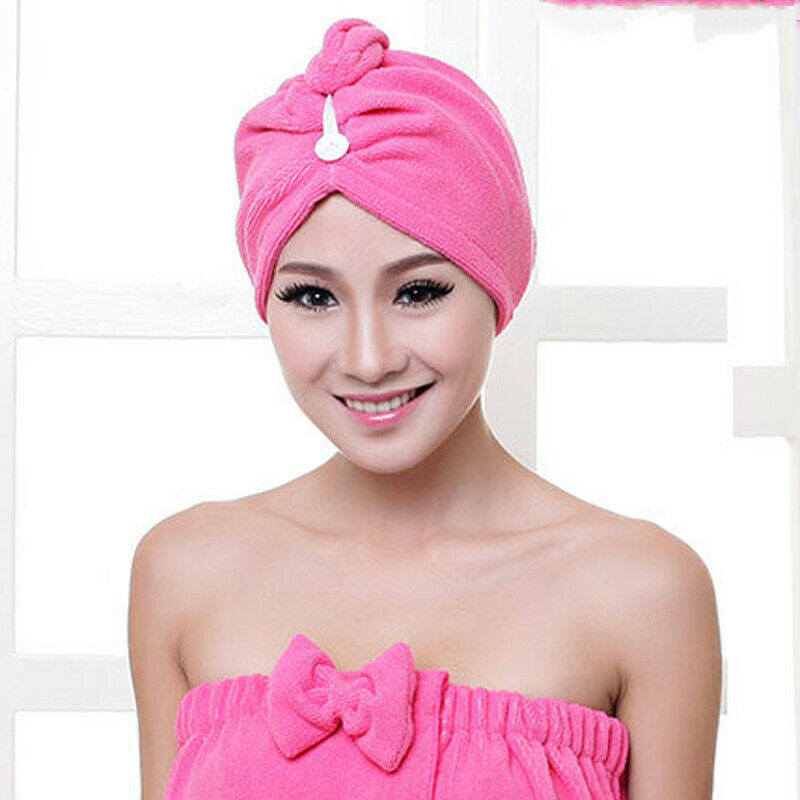 New Lady Quick Dry Twist Hair Solid Turban Towel Microfiber Hair Wrap Bath Towel Cap Five Colors Hat