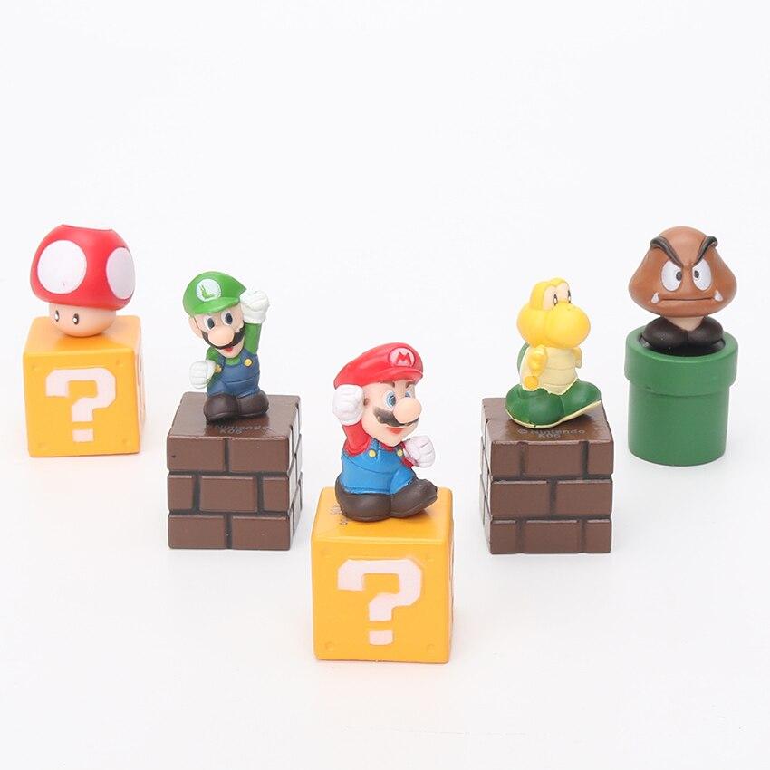 5pcs/set Super Mario Bros Magnets Figure Toys Mario Luigi Mushroom Tortoise Creative  Action Figure Toys Model Dolls