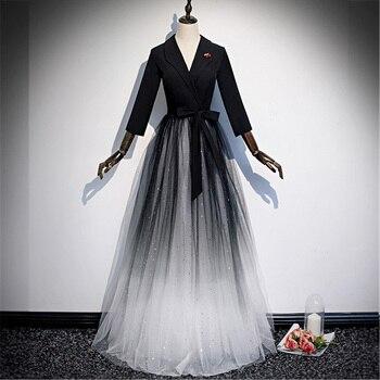 Black Gradient Evening Dress Stitching V-neck Simple A-line Floor-length Full Sleeveles Plus size Customized Formal Dress R1295