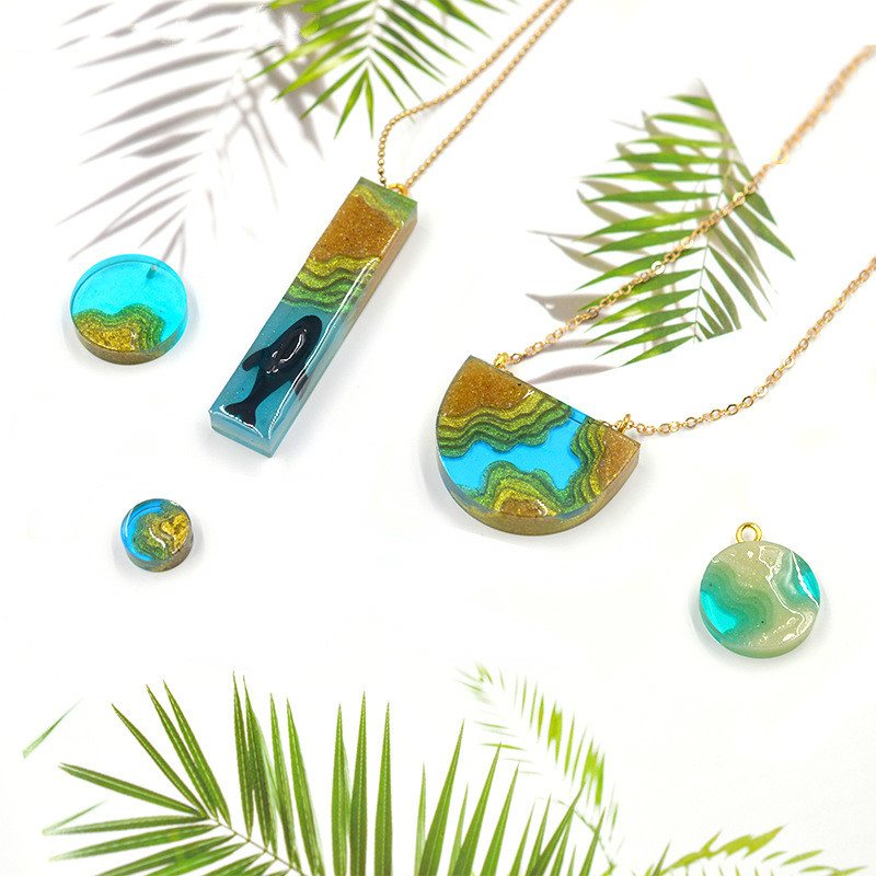Chic Jewelry Making Mold Nature Coastline UV Resin Island Pendant Silicone UV Resin Pendant Mold Earring Beach Landscape Mold