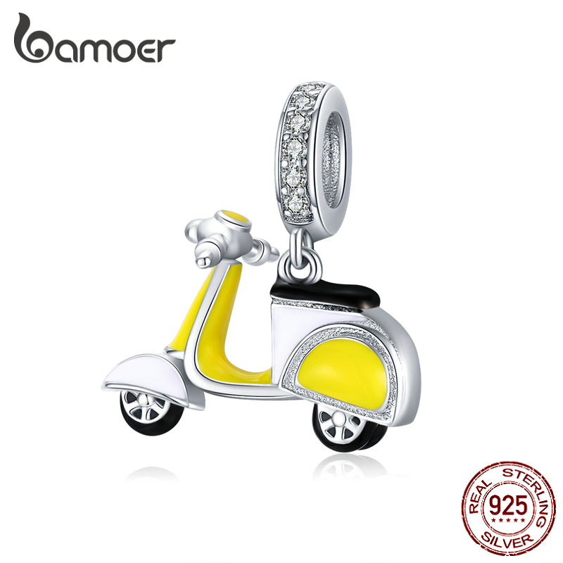 bamoer Sterling Silver Motorcycle Bike Pendant Charm for Original Silver 925 Bracelet European Brand Jewelry Accessories BSC136