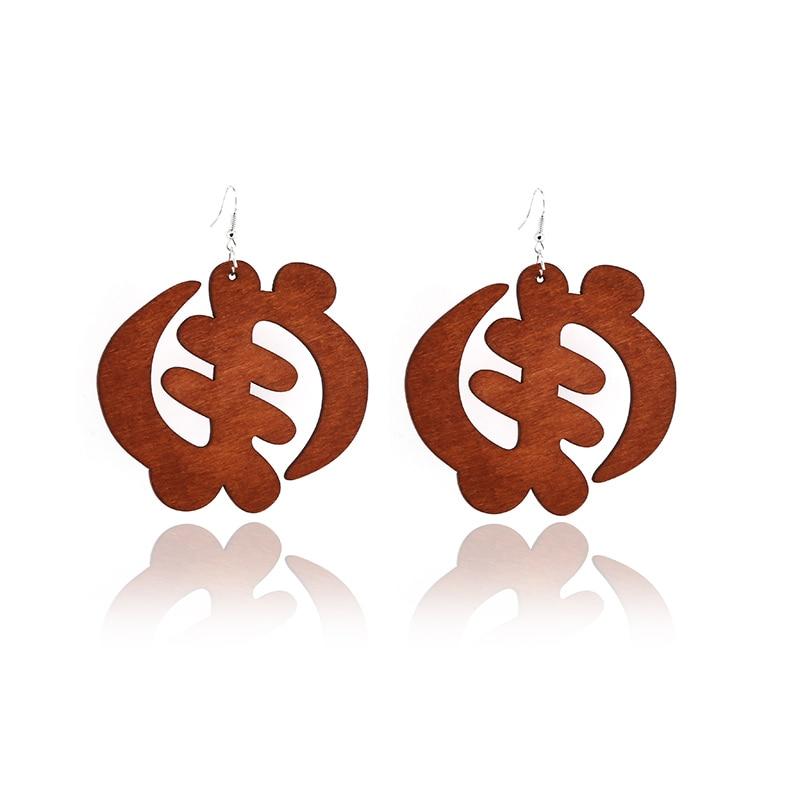 SANSHOOR 2020 Ethnic Big Round Wooden Hollow Drop Earrings African Wood Chip Pendant Earrings For Women Lady Girls