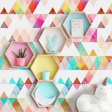 Nordic INS Creative Geometric Wall Stickers For Kids Room Wardrobe Bawardrobe Background Vinyl Art Decals